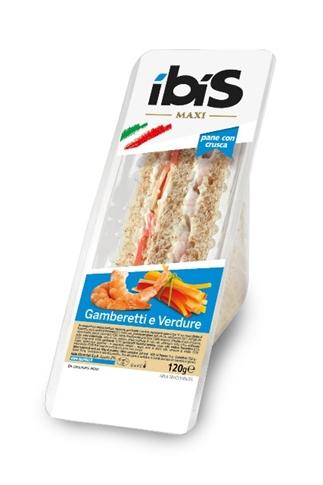 Tramezzino gamberetti e verdure gr. 120 con pane integrale