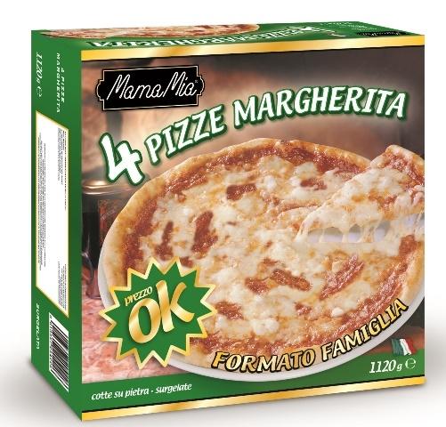 Pizza Margherita 4 x 280 gr. (diam. 26 cm)
