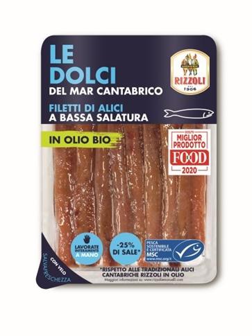 Fil. alici Cantabriche in olio semi di girasole BIO gr. 80