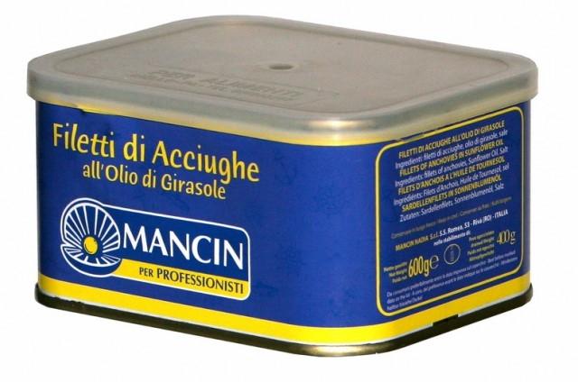 Filetti d'acciughe olio girasole 600 gr. Mancin