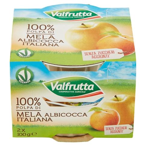 Valfrutta Polpa di Mela e Albicocca 2x100gr.