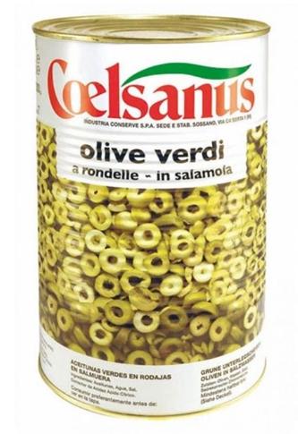 Olive verdi a rondelle in salamoia Kg. 4.1 latta