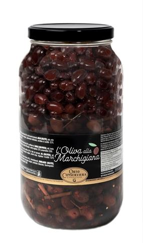 Olive nere condite Marchigiane kg. 2.55 vaso