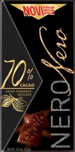 Tavoletta nero nero fondente 70% Novi 75 gr.