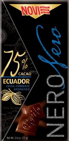 Tavoletta nero nero Ecuador 75% Novi 75 gr.